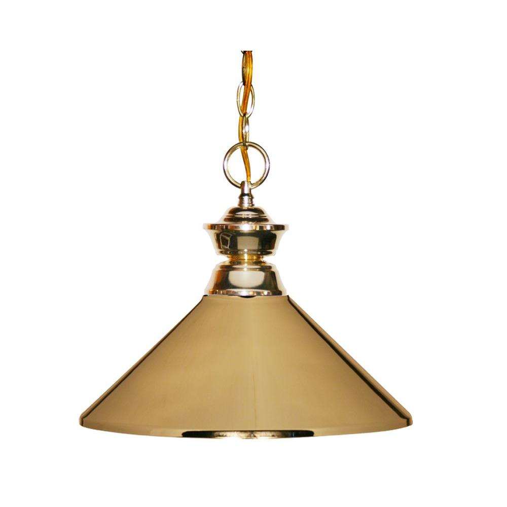 Filament Design Lawrence1 Light Polished Br Clic Chain Pendant With Steel Shade