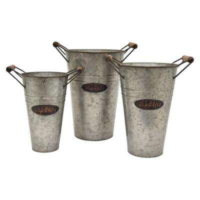 15.5 in. Gray Galvanized Planters (Set of 3)