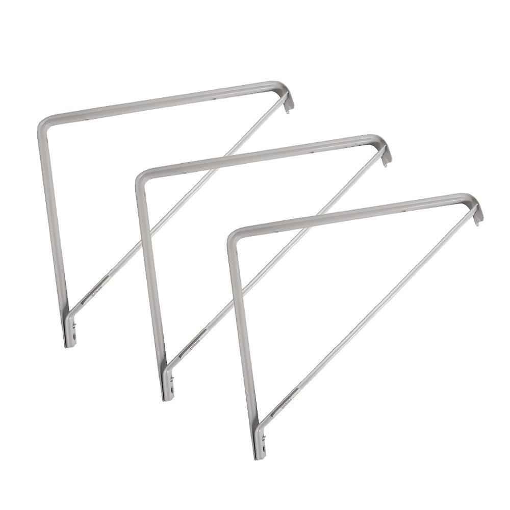 11 in. x 11 in. White Heavy-Duty Steel Shelf Bracket (3-Pack)
