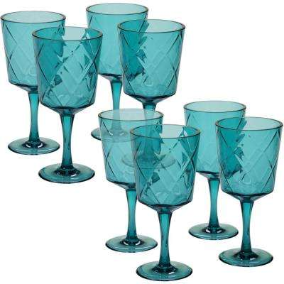 8-Piece 13 oz. Teal Acrylic Goblet Glass