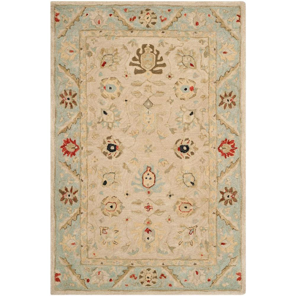 Safavieh Anatolia Natural/Soft Turquoise 4 ft. x 6 ft. Area Rug