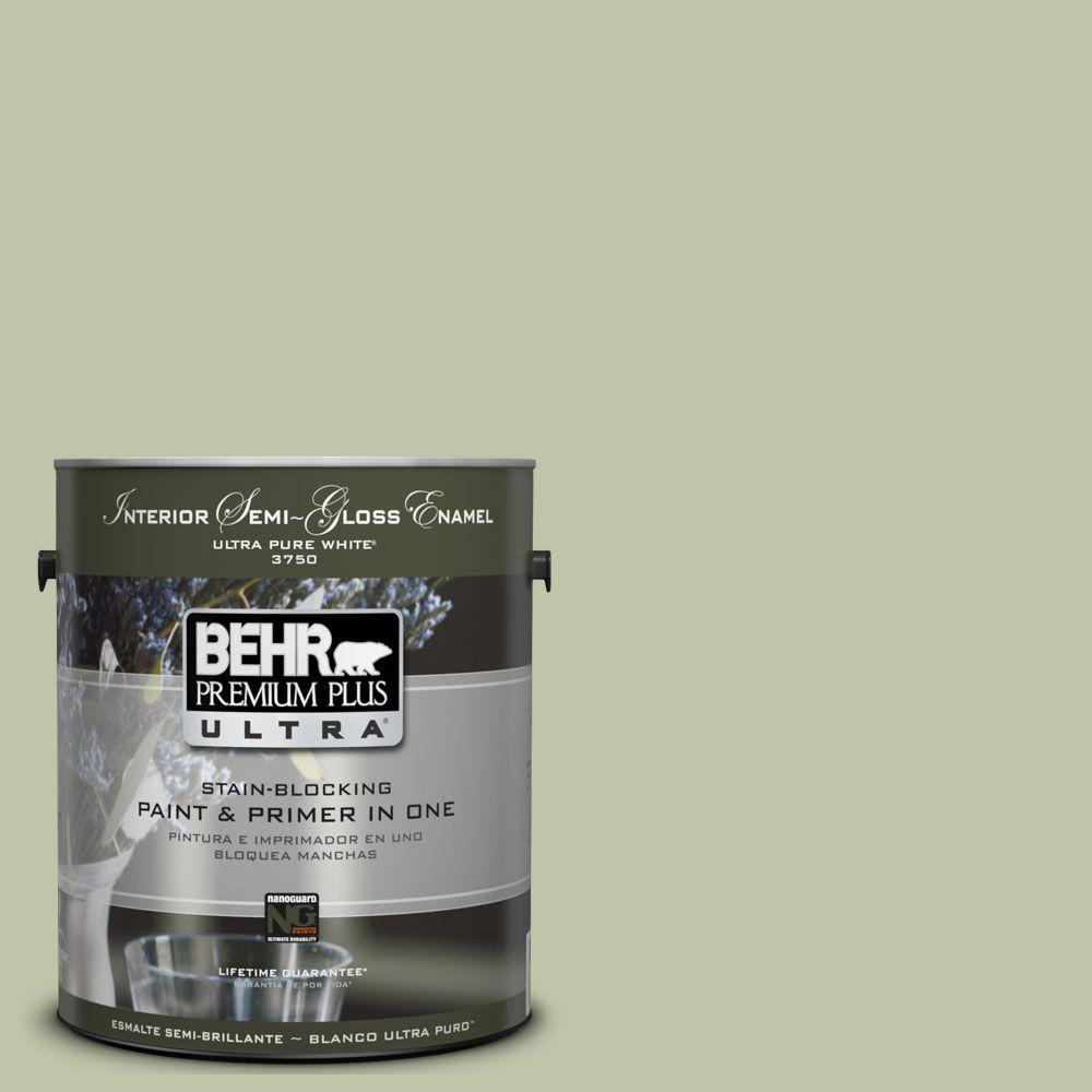 BEHR Premium Plus Ultra 1-gal. #UL210-13 Minted Lemon Interior Semi-Gloss Enamel Paint