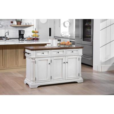 Cocina Kitchen Island Antique White with Wood Top and Frame