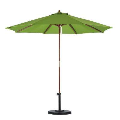 9 ft. Wood Pulley Open Patio Umbrella in Lime Green Polyester