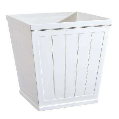 White Resin Beadboard Square Planter