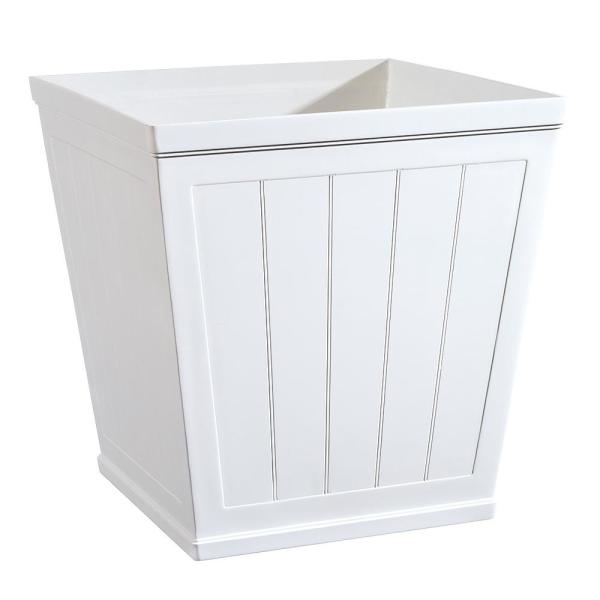 Hanover 20 in. White Resin Beadboard Square Planter