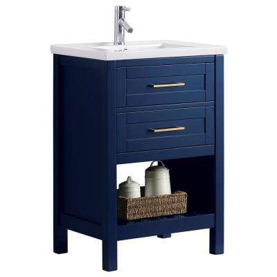 Elina 24 in. W x 18 in. D Bath Vanity in Blue with Porcelain Vanity Top in White with White Basin