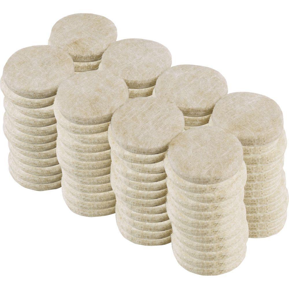 1 in. Beige Heavy-Duty Self-Adhesive Felt Pads (96-Pack)