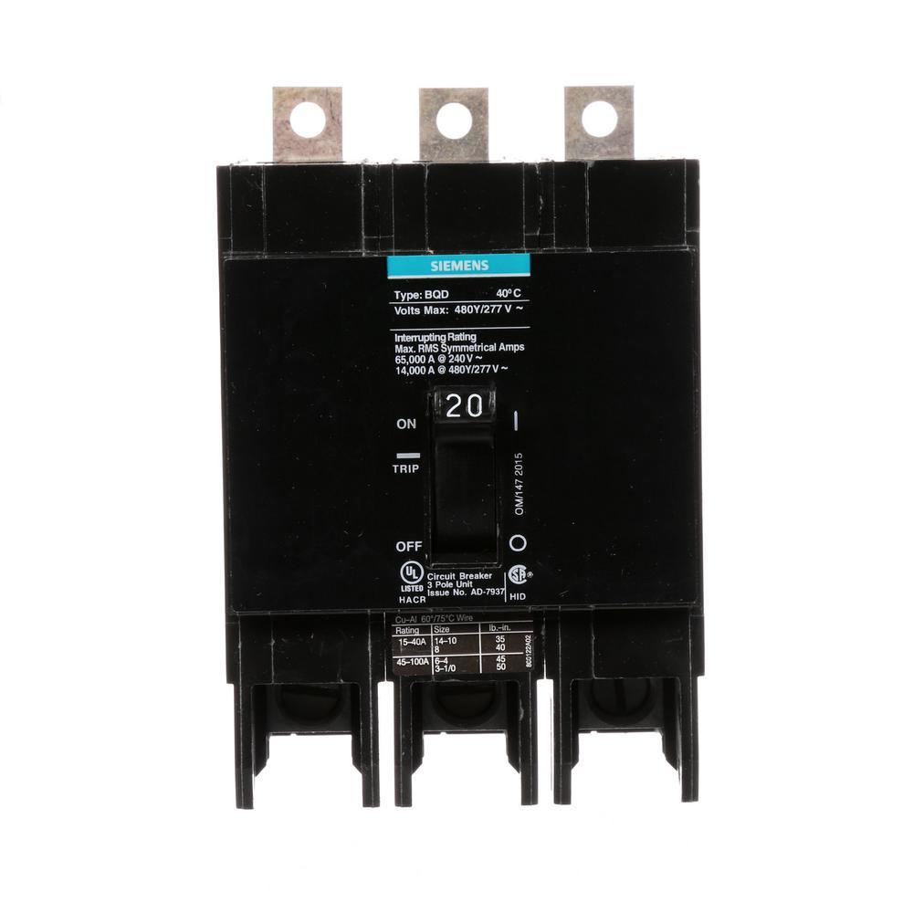 Siemens 20 Amp Triple-Pole Type BQD Bolt-On Circuit Breaker