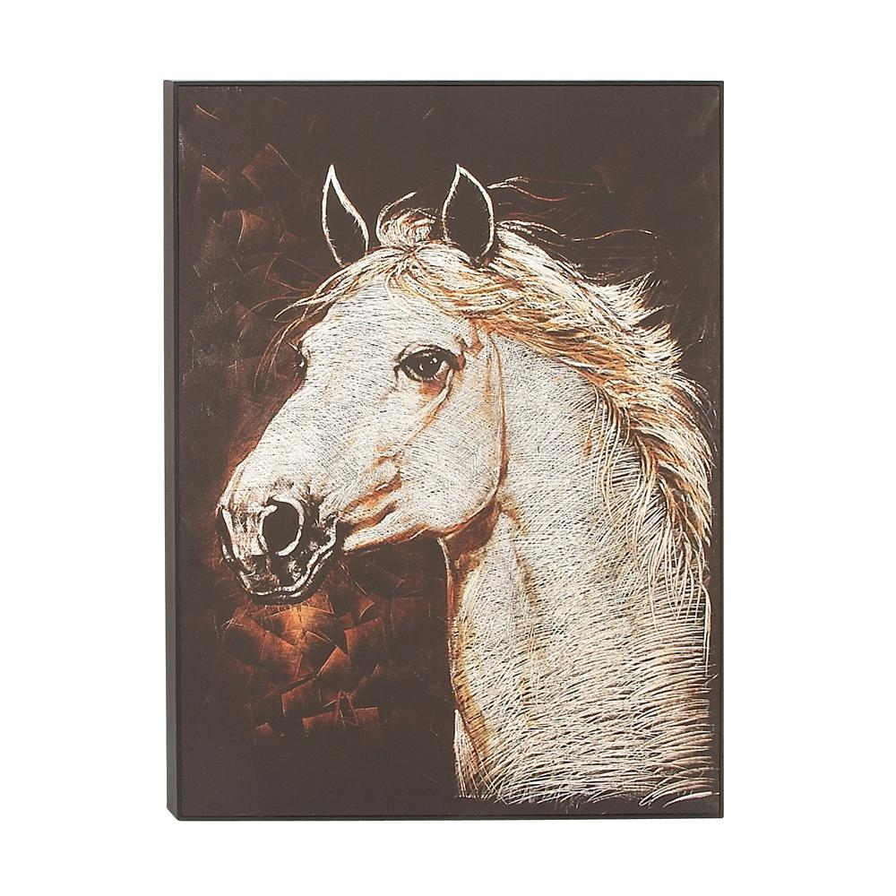 Clic White Horse Head Aluminum And Canvas Art 77655 The Home Depot