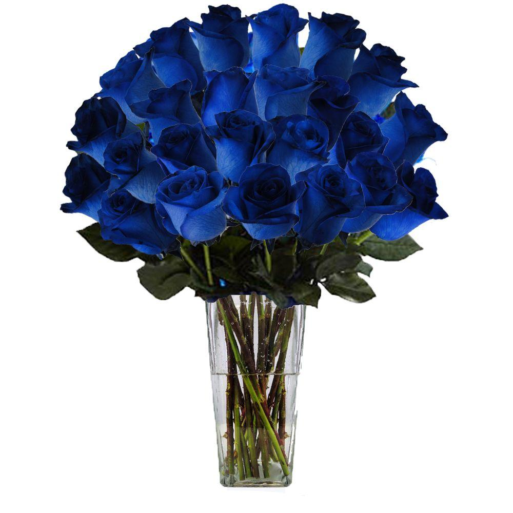 The Ultimate Bouquet Gorgeous Blue Rose Bouquet In Clear