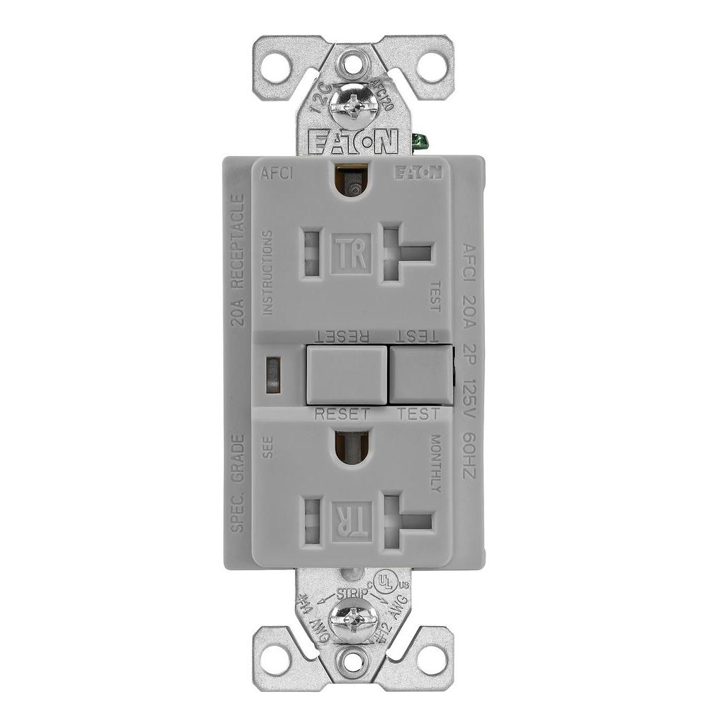 eaton 20 amp 125 volt tamper resistant afci duplex receptacle gray trafci20gy the home depot. Black Bedroom Furniture Sets. Home Design Ideas