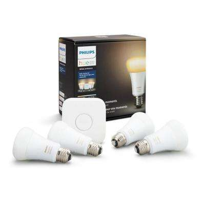 Hue White Ambiance A19 LED 60W Equivalent Dimmable Smart Lighting Wireless Starter Kit (4 Bulbs, and Bridge)
