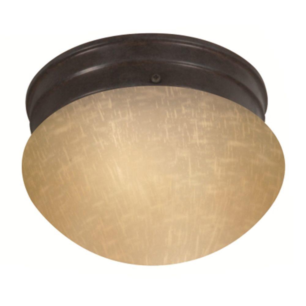 Tony 1-Light Mahogany Bronze Flush Mount