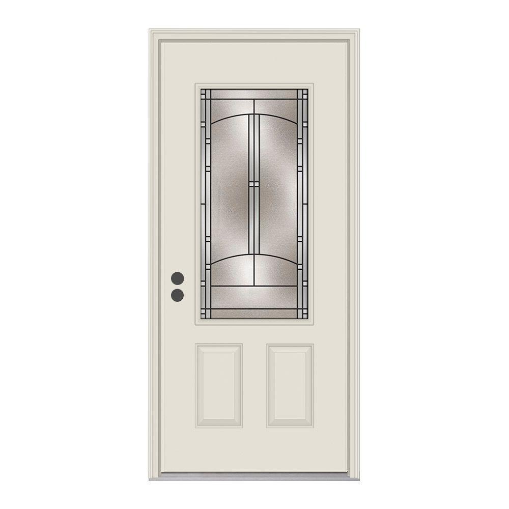 36 in. x 80 in. 3/4 Lite Idlewild Primed Steel Prehung Right-Hand Inswing Front Door w/Brickmould