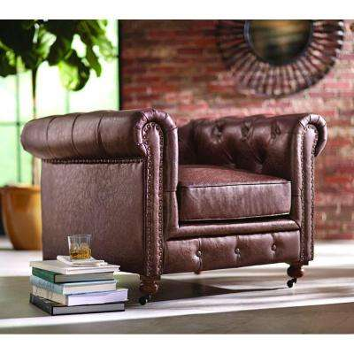 Gordon Brown Leather Arm Chair