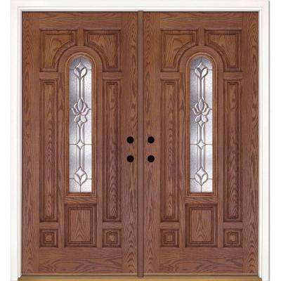 74 in. x 81.625 in. Medina Brass Center Arch Lite Stained Medium Oak Right-Hand Fiberglass Double Prehung Front Door