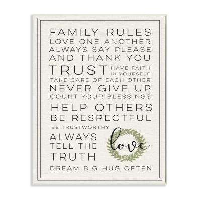 """12.5 in. x 18.5 in. """"Family Rules Love Dream Often"""" by Daphne Polselli Printed Wood Wall Art"""