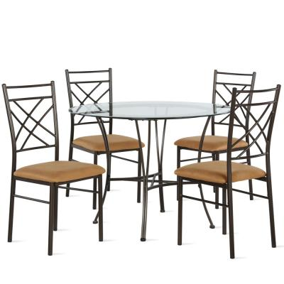 Odessa 5-Piece Glass Top Bronze and Dark Beige Dining Set