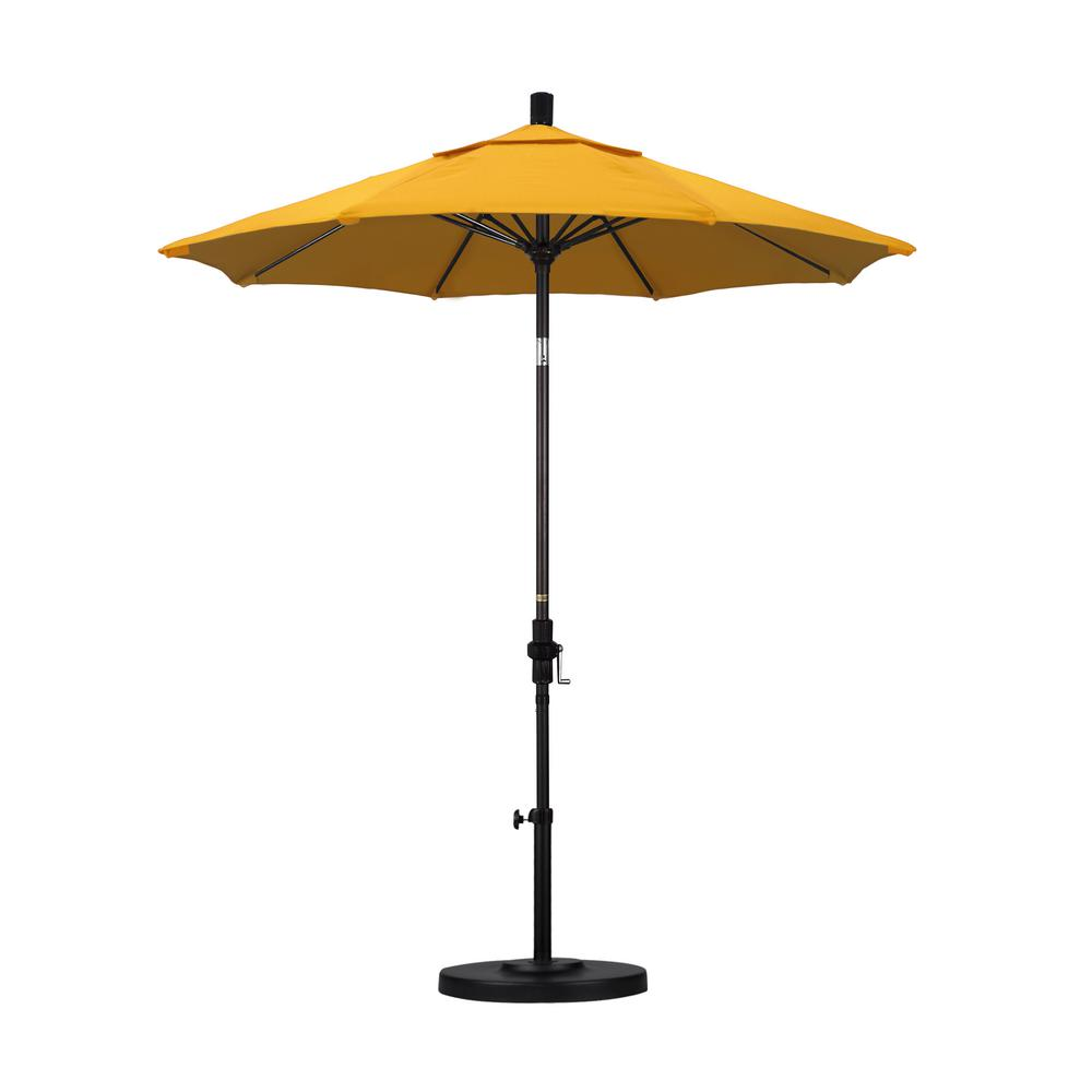California Umbrella 7-1/2 ft. Fiberglass Collar Tilt Patio Umbrella in Lemon Olefin