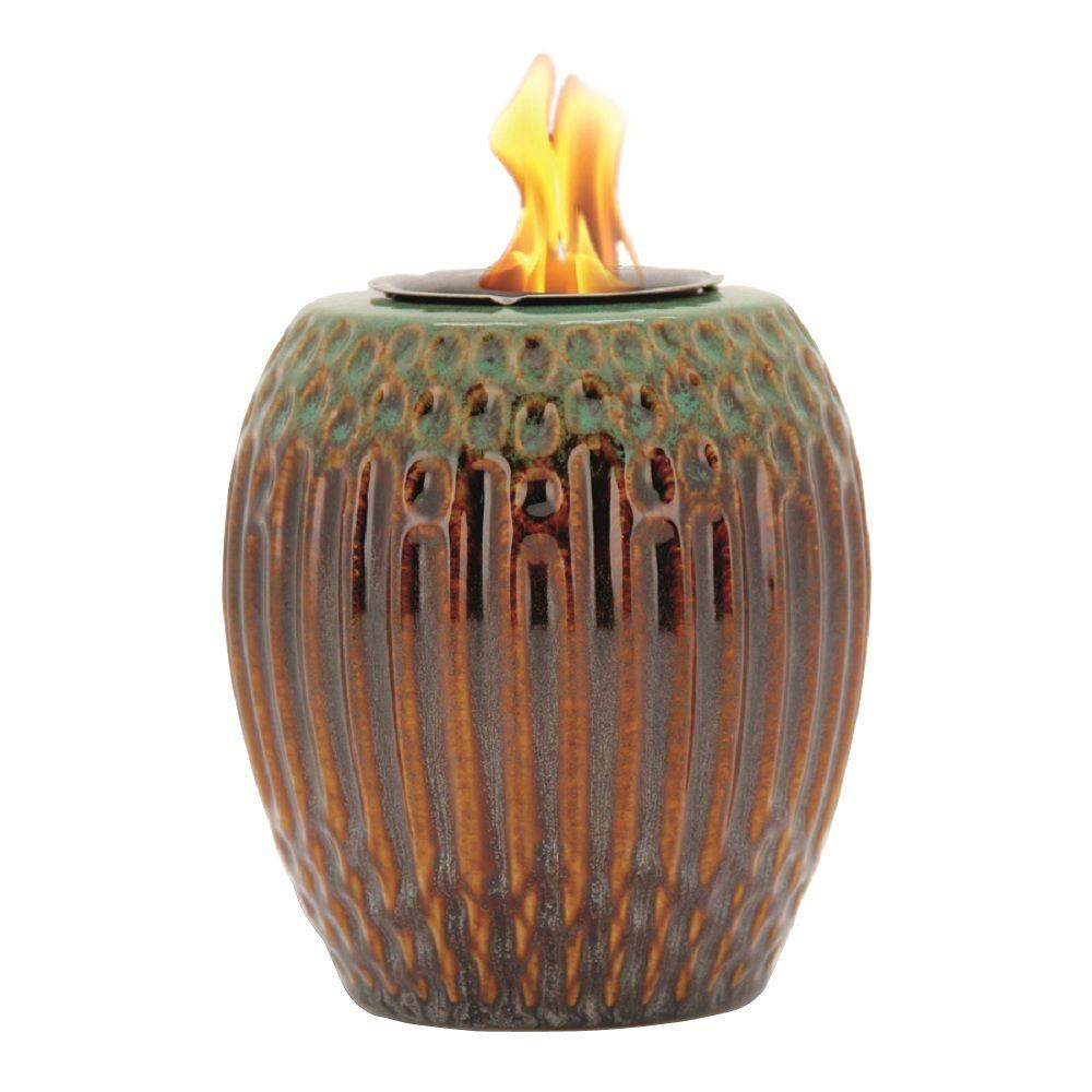 Pacific Decor Ribbed Fire Pot in Green/Brown