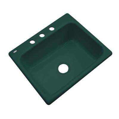 Inverness Drop-In Acrylic 25 in. 3-Hole Single Bowl Kitchen Sink in Rain Forest