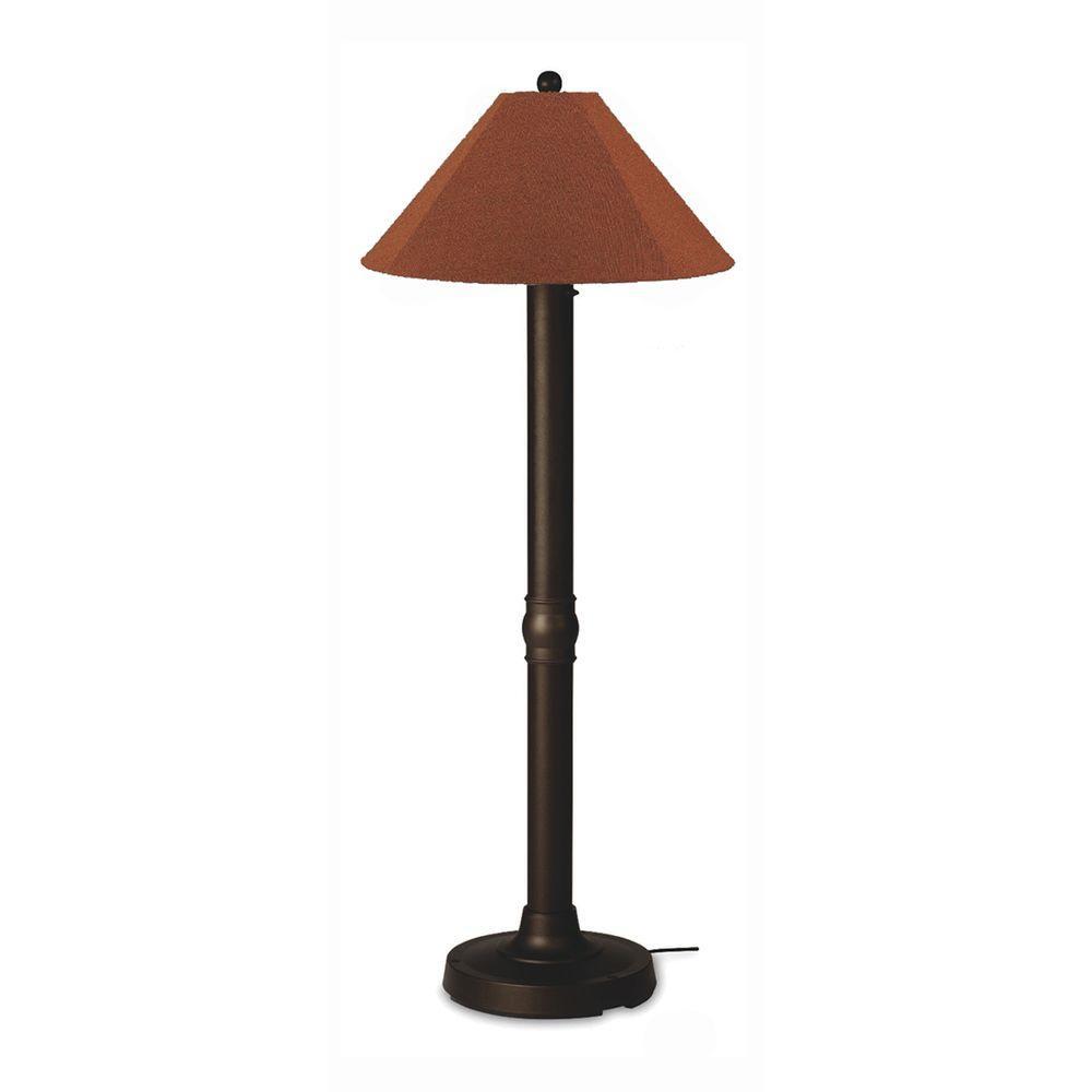Seaside 60 in. Bronze Outdoor Floor Lamp with Chile Linen Shade