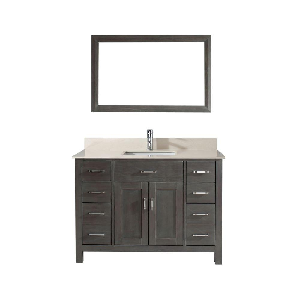 Studio Bathe Kalize 48 in. Vanity in French Gray with Marble Vanity Top in Beige and Mirror
