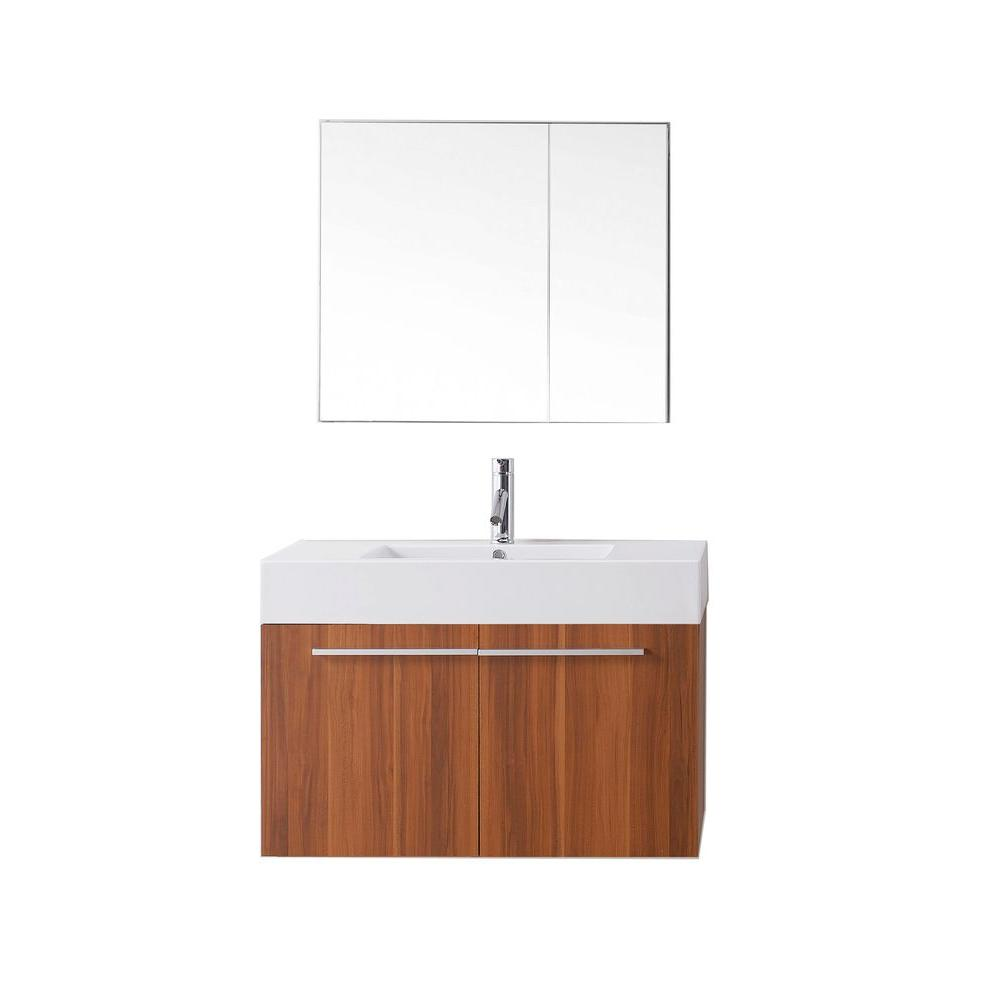 Virtu USA Midori 35.43 in. W Vanity in Plum with Poly-Marble Vanity Top in White with White Basin and Mirror