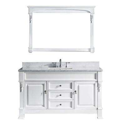 Huntshire 61 in. W Bath Vanity in White with Marble Vanity Top in White with Square Basin and Mirror