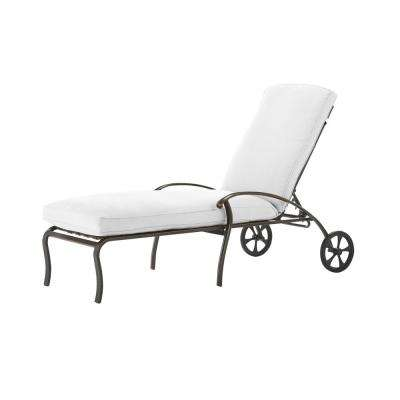 Ridge Falls Dark Brown Aluminum Outdoor Patio Chaise Lounge with Bare Cushions
