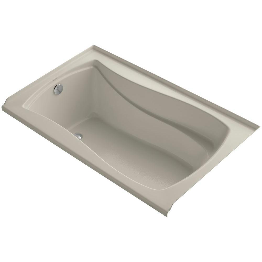 Mariposa 5 ft. Left Drain Soaking Tub in Sandbar with Bask Heated Surface