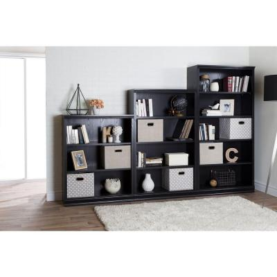 58.13 in. Black Oak Faux Wood 4-shelf Standard Bookcase with Adjustable Shelves