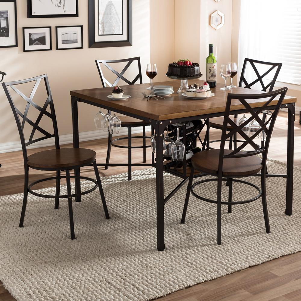 Vintner 5-Piece Black Metal and Natural Wood Dining Set