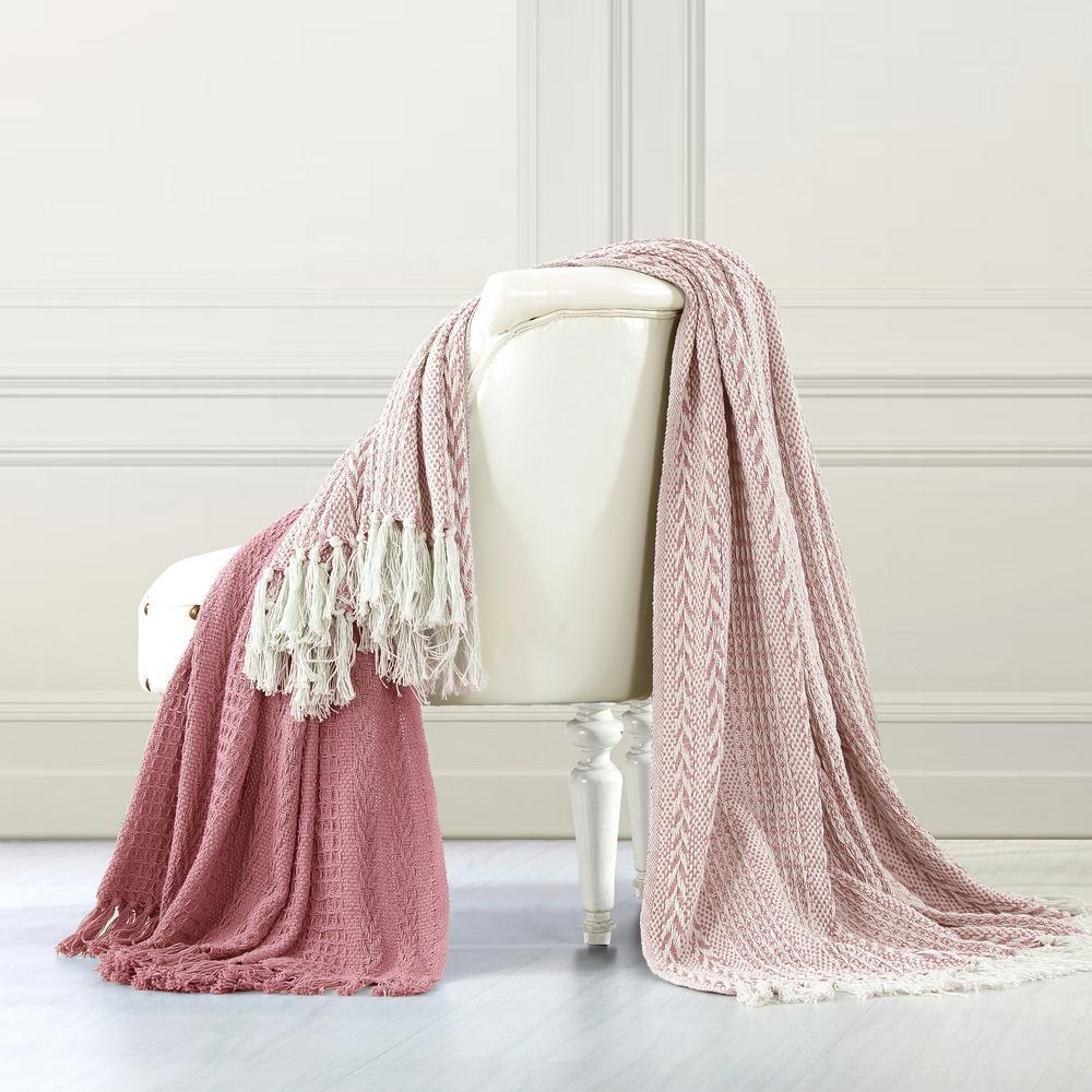 Amrapur Overseas 2-Pack Batik Ash Rose 100% Cotton Throw 5CNTBTKG-ARO-ST