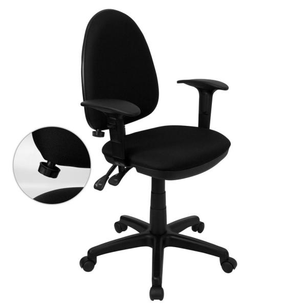 Flash Furniture Mid-Back Black Fabric Multi-Functional Swivel Task Chair with