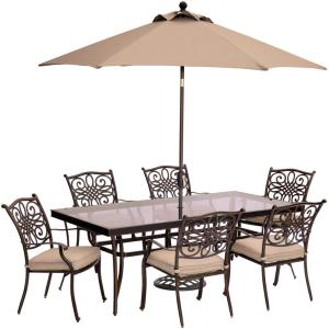 Hanover Traditions 7-Piece Aluminum Outdoor Dining Set with Rectangular Glass Table,... by Hanover