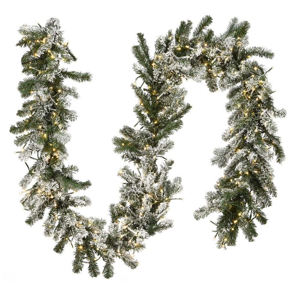 National Tree Company 9 Ft Snowy Sheffield Spruce Garland With Battery Operated Led Lights