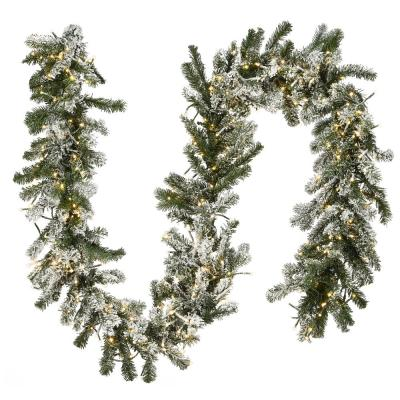 9 ft. Snowy Sheffield Spruce Garland with Battery Operated LED Lights