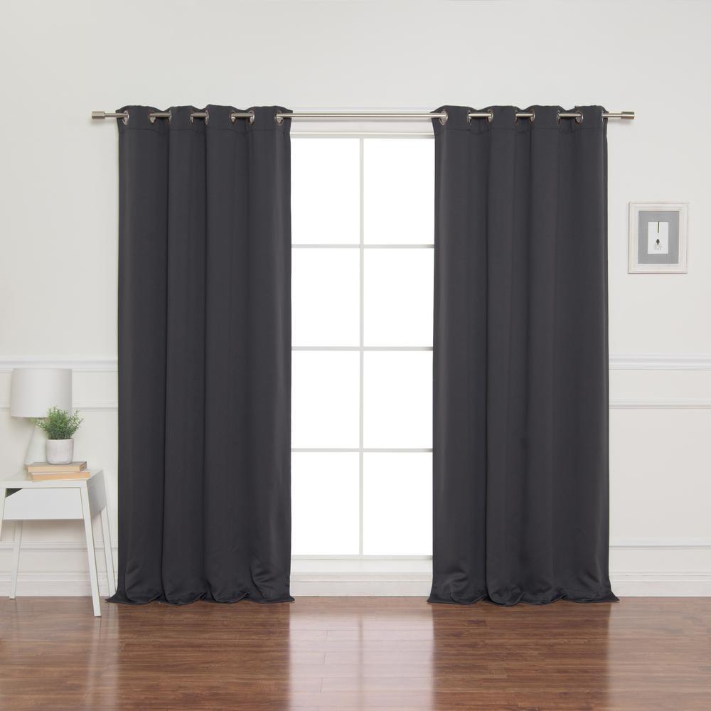 100 in. x 96 in. Flame Retardant Blackout Curtain Panel in Dark Grey