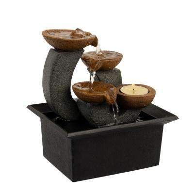 7 in. 3-Tier Indoor Cascading Waterfall Tabletop Water Fountain with LED Lights