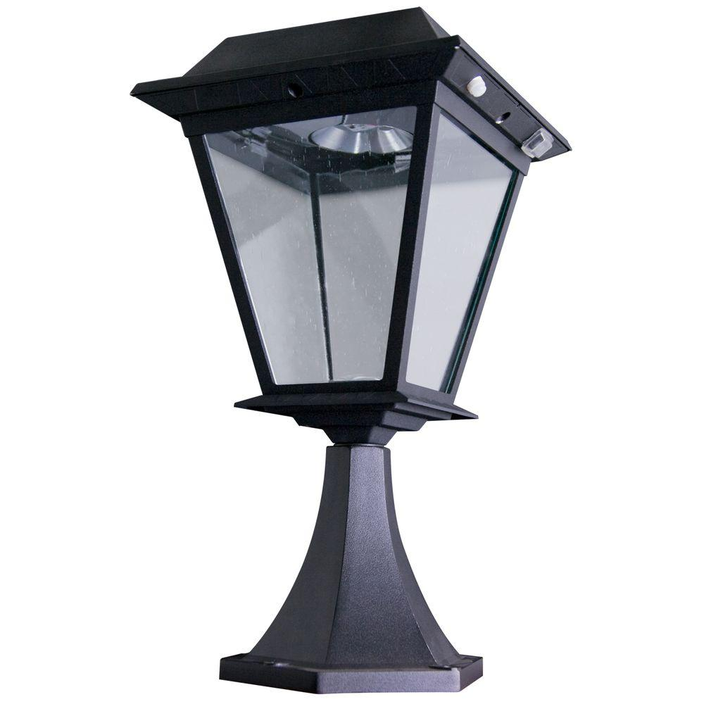XEPA Stay On Whole Night 300 Lumen Post Mount Outdoor Black Solar LED Lamp