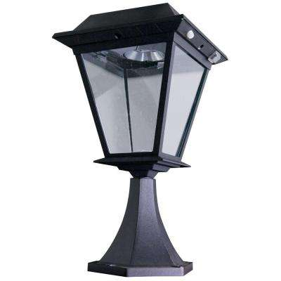Stay On Whole Night 300 Lumen Post Mount Outdoor Black Solar LED Lamp