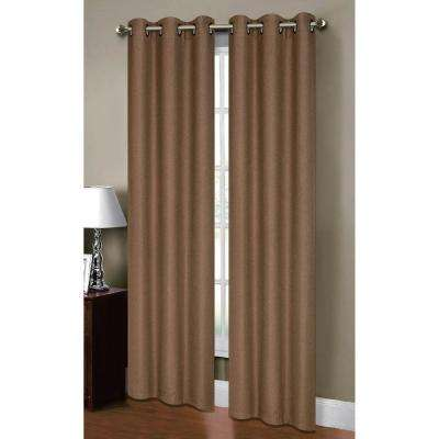 Semi-Opaque Henley Faux Linen 84 in. L Room Darkening Grommet Curtain Panel Pair, Taupe (Set of 2)