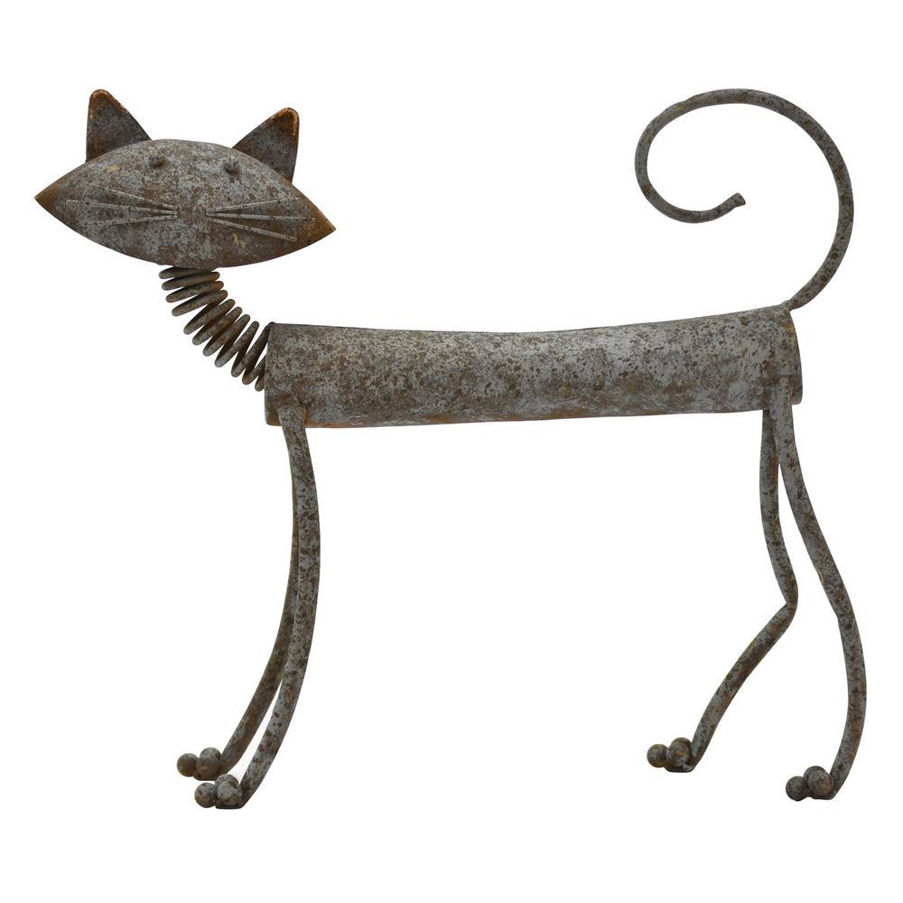 17.25 in. Metal Cat in Gray