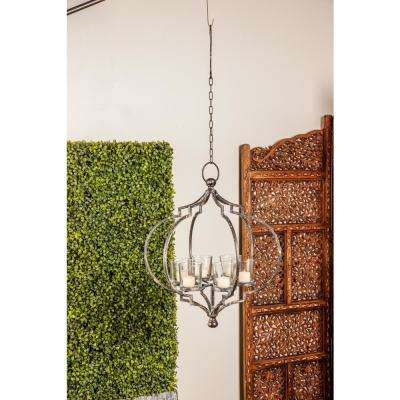Distressed Black Iron 6-Light Hanging Candle Holder