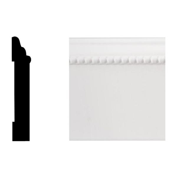 Creations Series 6616 7/16 in. x 3-1/4 in. x 8 ft. PVC Composite White Base Moulding