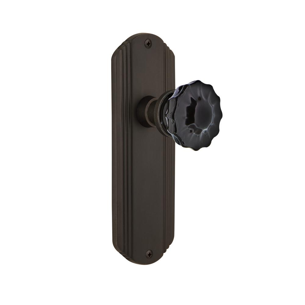 Nostalgic Warehouse Deco Plate Double Dummy Crystal Black Glass Door Knob  In Oil Rubbed Bronze