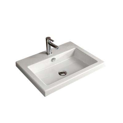 Cangas Drop-In Ceramic Bathroom Sink in White