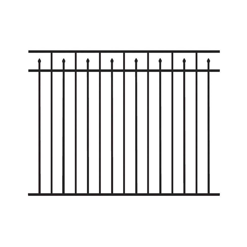 Barrette 4.5 ft. H x 6 ft. W 3-Rail Alternating Picket/Flat Top Aluminum Fence Kit (Not Assembled)